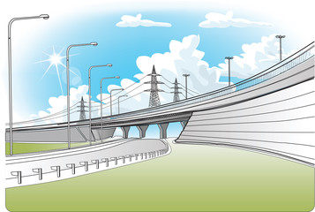 Bridge railway and high-voltage power line