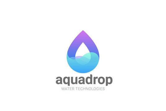 Water droplet Logo vector. Aqua Cosmetics SPA. Drop wave icon