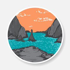 Vector sticker with painted sea and rocks