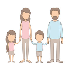 light color caricature faceless family group with parents and children taken hands vector illustration