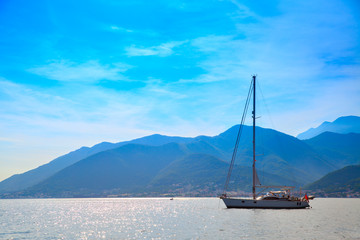 Vew of the Kotor Bay with yacht