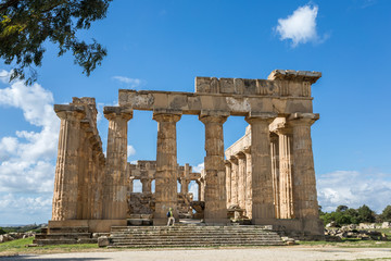Ancient greek temple at the archeological site of Selinunte, Trapani, Sicily.