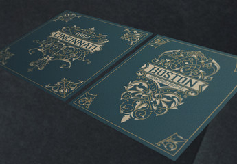 2 Ornate Vintage Labels with Blue and Gold Accents