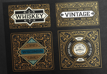 4 Intricate Vintage Labels with Gold Accents
