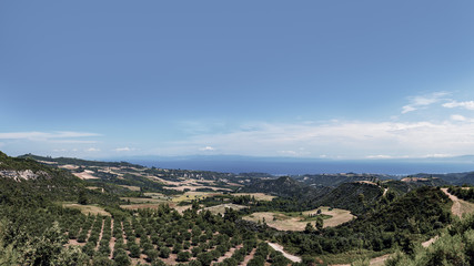 At the top of Kassandra, Halkidiki, Greece. Beautiful view of landscape of peninsula Kassandra with sea on horizon.