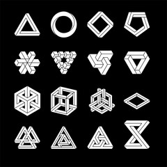 Set of impossible shapes. Optical Illusion. Vector Illustration isolated on white. Sacred geometry. White shapes. on a black background