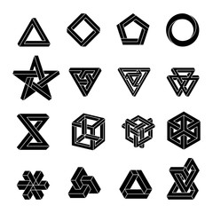 Set of impossible shapes. Optical Illusion. Vector Illustration isolated on white. Sacred geometry. White shapes on a black background.