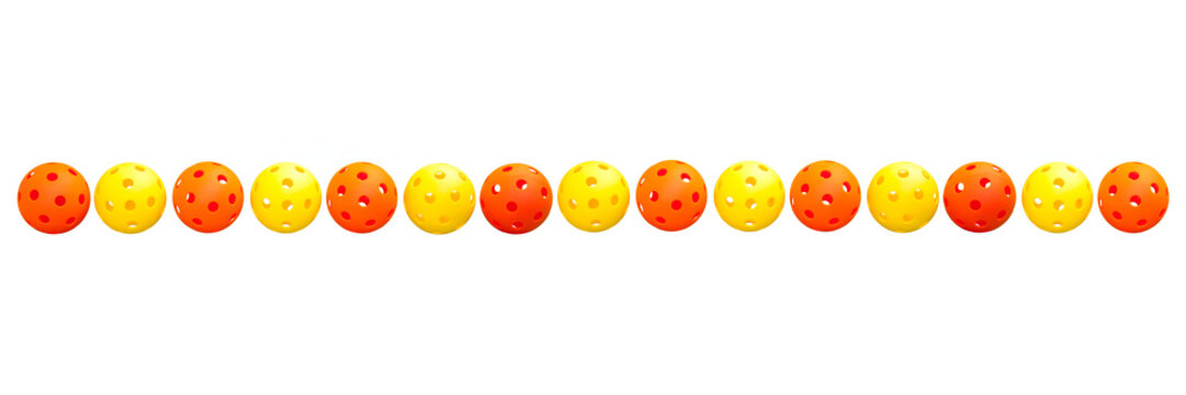Pickleball Border - 15 alternating Orange & Yellow balls in a line on white background.
