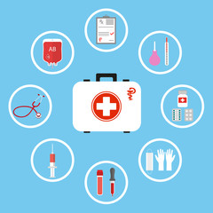 kit first aid digital medicine design icons medicine on a blue background