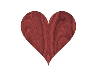 Beautiful mahagony red wood heart isolated on white