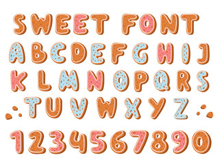 Gingerbread cookies alphabet holidays ginger cookie font text food biscuit xmas letter vector illustration