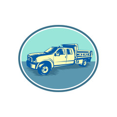 Retro woodcut style illustration of a Tipper Pick-up or pickup truck, equipped with open-box bed hinged at the rear and equipped with hydraulic rams to lift the front viewed from side set inside oval.