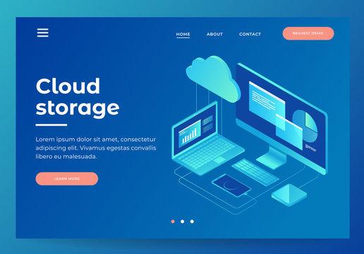 Concepts Cloud storage. Header for website with Computer, laptop, smartphone on blue background. Design for Landing Page. 3d isometric flat design. Vector illustration.
