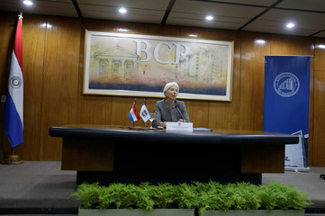 Christine Lagarde, Managing Director of the International Monetary Fund (IMF), speaks during a news conference at Paraguayan Central Bank in Asuncion