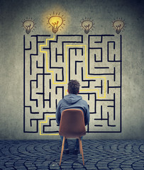 man brainstorming the labyrinth has a solution