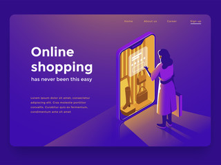 Sale, consumerism and people concept. Young woman shop online using smartphone. Landing page template. 3d vector isometric illustration.