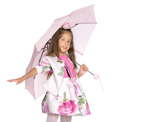 Little girl under an umbrella.