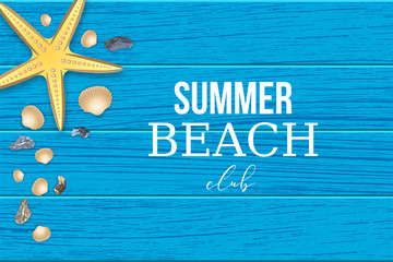 Summer beach club wooden banner. Realistic starfish seashell stone on wooden texture banner lifestyle sea travel vacation design. Blue minimalism template. Exotical vector object illustration.