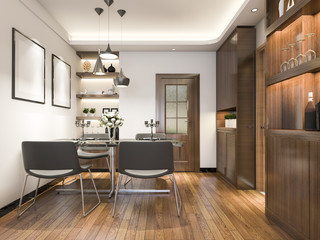 3d rendering luxury and modern living room near kitchen
