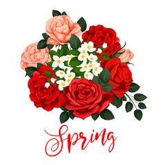 Vector rose flowers bunch for springtime season