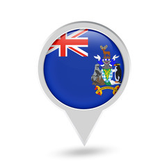 South Georgia and the South Sandwich Islands Flag Round Pin Icon
