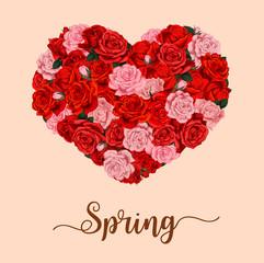 Vector spring season holiday flower heart poster