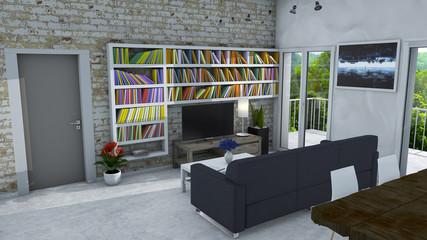Arredamento d'interni, soggiorno e arredamento moderno, parete di mattoni, vetrata con vista su un parco