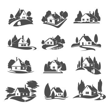Vector icons of house for real estate company