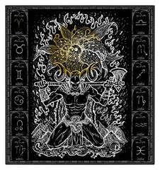 White silhouette of fantasy Zodiac sign Aries in gothic frame on black. Hand drawn engraved illustration