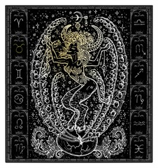 White silhouette of fantasy Zodiac sign Taurus in gothic frame on black. Hand drawn engraved illustration