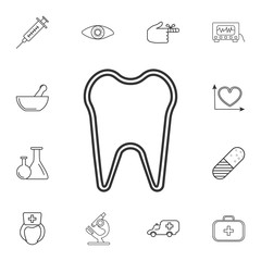 tooth icon. Detailed set of medicine outline icons. Premium quality graphic design icon. One of the collection icons for websites, web design, mobile app