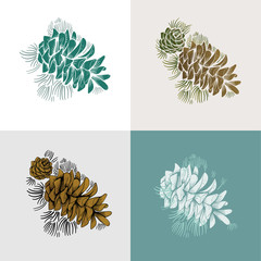 Illustration of pinecones collage