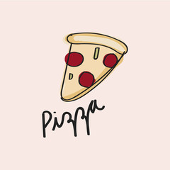 Illustration drawing style of pizza
