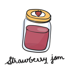 Illustration drawing style of strawberry jam