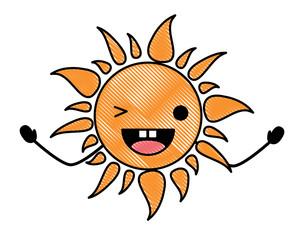 kawaii sun wiking an eye over white background, colorful design. vector illustration