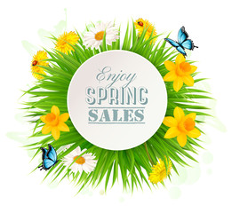 Wall Mural - Spring Sale Background With A Green Grass and flowers. Vector