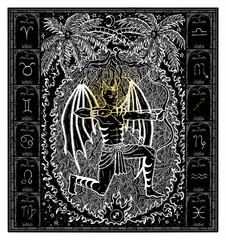 White silhouette of fantasy Zodiac sign Sagittarius in gothic frame on black. Hand drawn engraved illustration