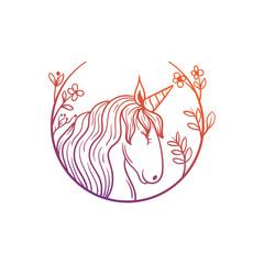 unicorn horse with floral frame illustration
