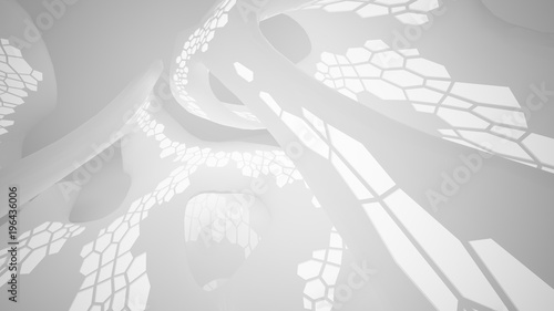 Abstract parametric white interior with neon lighting. 3d