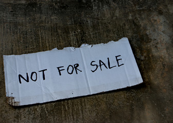 Human trafficking concept. Not for sale. Human is not a product.