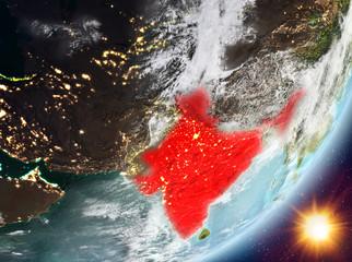 Orbit view of India during sunrise