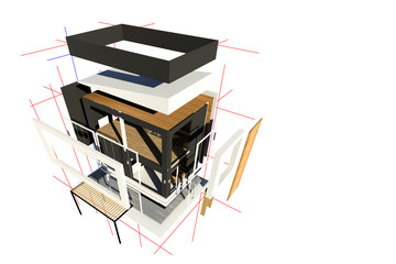 3d assembly home design white background