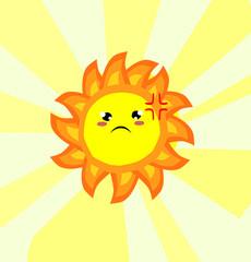 Angry  cute sun,cartoon style,Vector illustration.