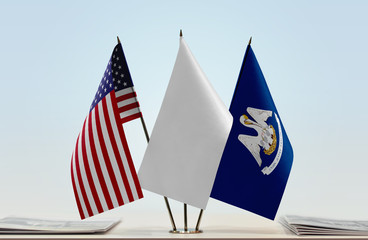 Flags of USA and Louisiana with a white flag in the middle