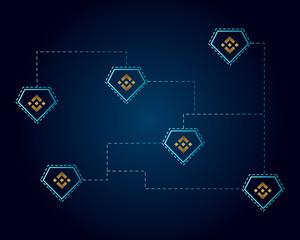 Binance coin blockchain style on dark background