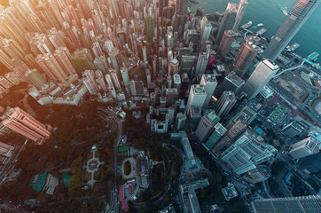 Hong Kong City view from sky