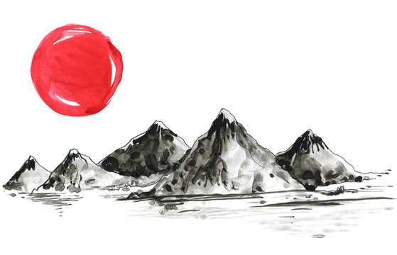 Mountains in Japanese painting style. Traditional Beautiful watercolor hand drawn illustration
