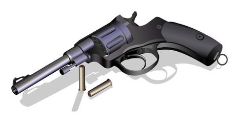 Revolver retro pistol with bullets vector illustration on white background