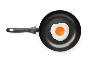 Frying pan with fried egg isolated on white background on top view object cooking design