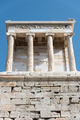 View of the restored Ionic style Temple of Athena Nike (winged victory) on the Acropolis